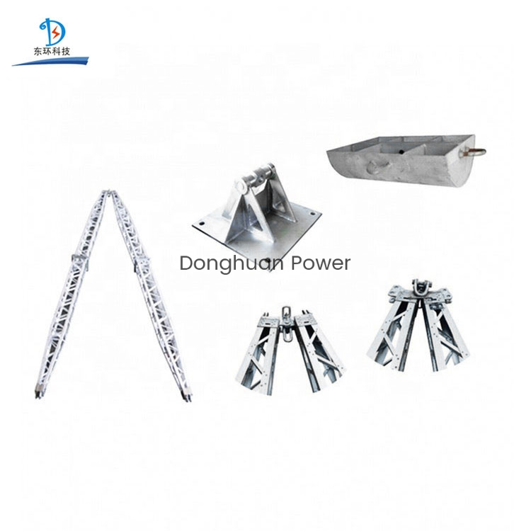 Aleación de aluminio en forma de celosía eléctrica gin poste para la máquina de erección poste erección torre de energía