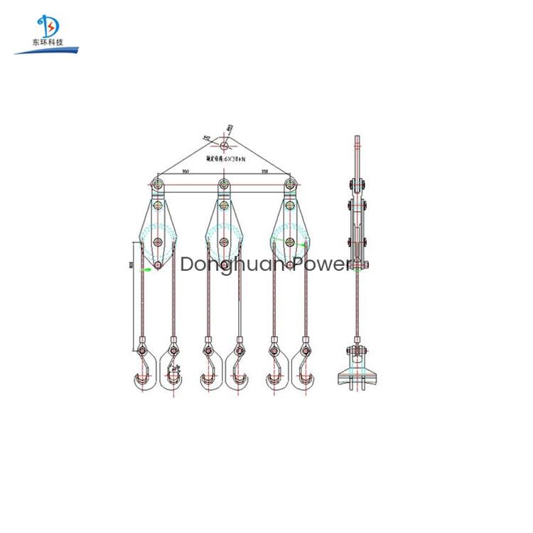 Elevador de conductores para seis conductores gemelos agrupados