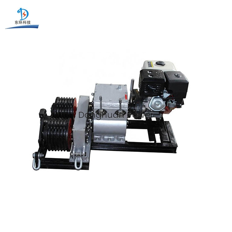Motor diesel Cabrestante con motor de gasolina Cable eléctrico Cabrestante de tambor doble
