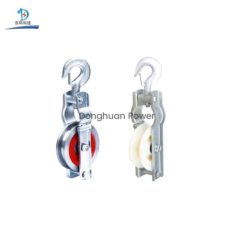 Polea de nylon o aluminio Cable de tierra Bloque de polea de rodillo para transmisión de potencia Cable de conexión a tierra Bloque de encordado